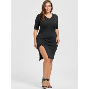 V Neck Plus Size Sheath Tight Pencil Dress -
