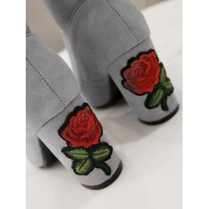 Mid Heel Flower Embroidery Boots -