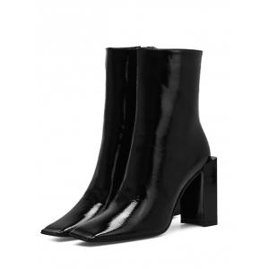 Square Toe PU Leather Boots -