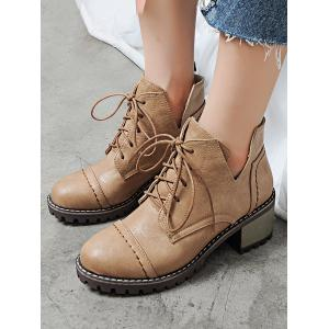 Stitching Curve Chunky Heel Boots -