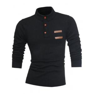 Demi-bouton à manches longues Polo Pull -