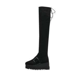 Square Toe Buckle Strap Thigh High Boots -