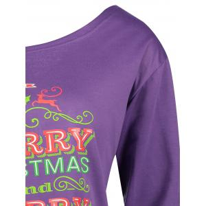 Christmas Tree Print Plus Size Drop Shoulder Sweatshirt -