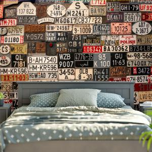 Wall Hanging License Plate Number Printed Tapestry -