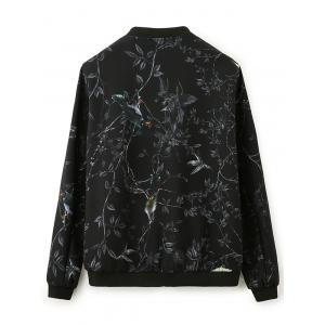 3D Bird and Floral Print Zip Up Jacket -
