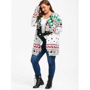 Christmas Graphic Plus Size Tunic Draped Cardigan -