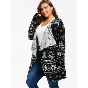 Christmas Snowflake Plus Size Tunic Draped Cardigan -