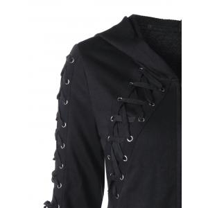 Zipper Up Lace Up Hoodie -