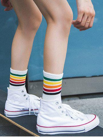 Cheap Colorful Striped Pattern Tube Socks WHITE