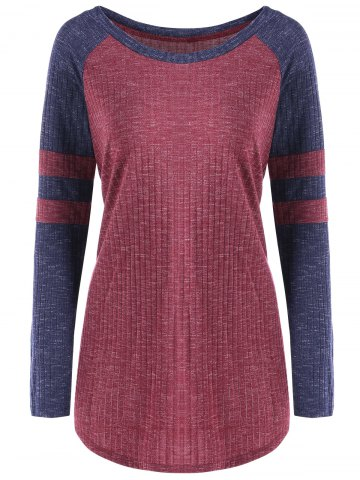 New Color Block Raglan Sleeve Ribbed Top - M RED Mobile