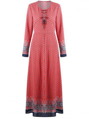 Affordable Print Lace Up Maxi Bohemian Dress RED L
