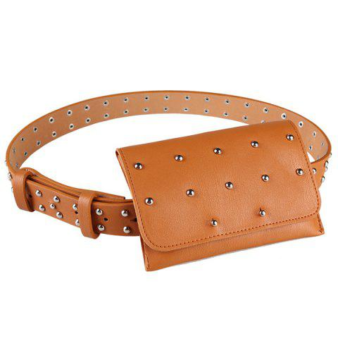 Best Vintage Mini Rivet Bag Decorated Faux Leather Belt - COFFEE  Mobile
