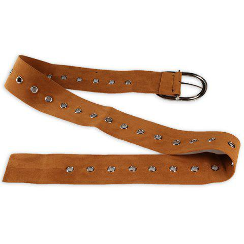 Buy Metal Round Buckle Decorated Suede Waist Belt LIGHT BROWN