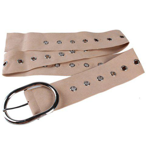 Trendy Metal Round Buckle Decorated Suede Waist Belt KHAKI