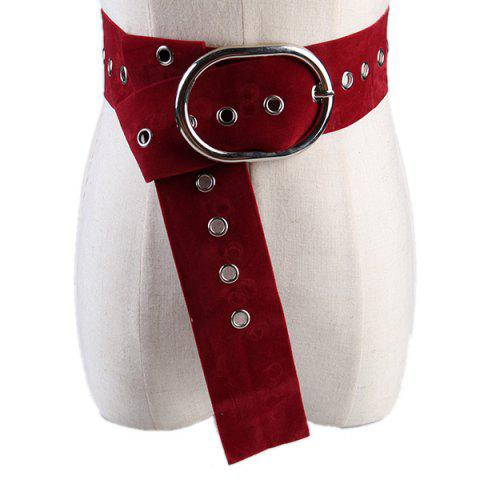 Latest Metal Round Buckle Decorated Suede Waist Belt - PURPLISH RED C5  Mobile
