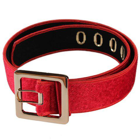 Shop Retro Metal Buckle Faux Suede Waist Belt RED