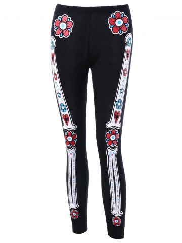 Buy Halloween Skull Bone Floral Skinny Leggings