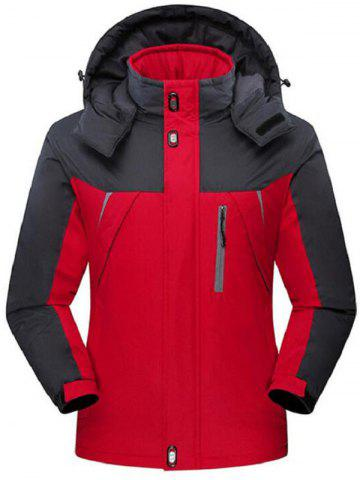 Store Two Tone Zip Up Flocking Ski Jacket RED 5XL