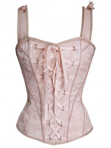 Outfits Steel Boned Lace Up Corset Vest - XL LIGHT PINK Mobile