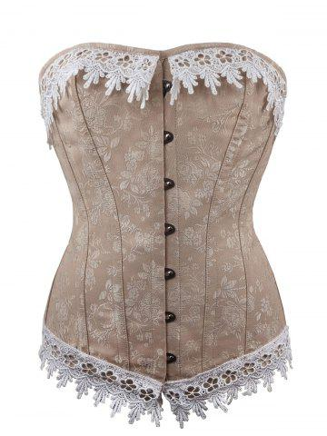Hot Jacquard Lace Up Waist Training Corset - L COFFEE Mobile