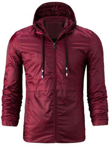 Hot Zipper Up Drawstring Hooded Windbreaker Jacket - 4XL WINE RED Mobile