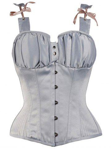 New Steel Boned Lace Up Waist Training Corset Top BLUE GRAY L
