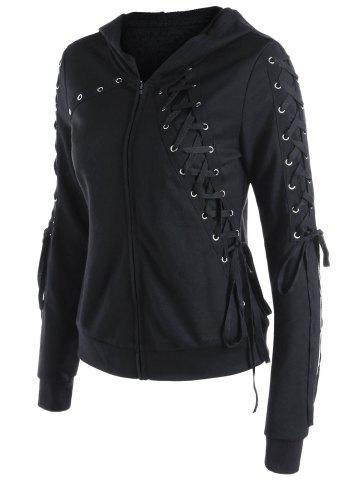 Trendy Zipper Up Lace Up Hoodie - L BLACK Mobile
