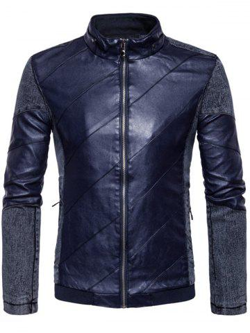 New Zip Up Faux Leather Insert Jacket