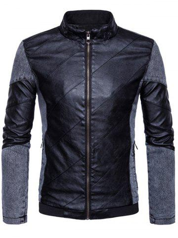 Latest Zip Up Faux Leather Insert Jacket BLACK 3XL