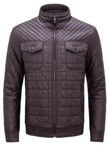 Cheap Grid Check Quited Faux Leather Jacket COFFEE 3XL
