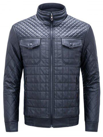 Outfits Grid Check Quited Faux Leather Jacket - 3XL BLUE Mobile