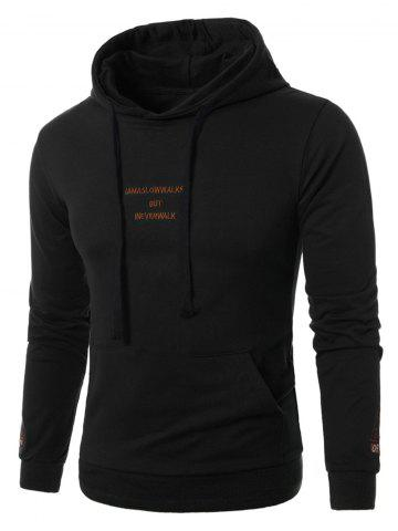 Latest Graphic Embroidered Pocket Pullover Hoodie BLACK 5XL