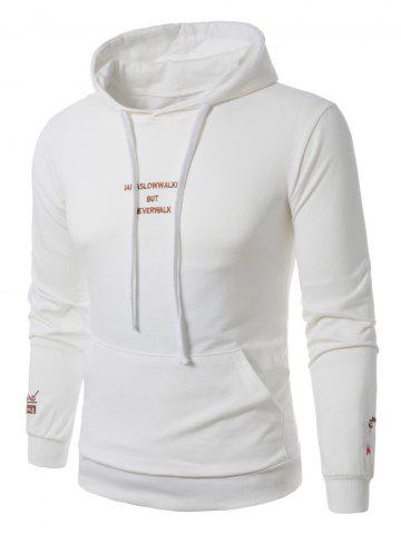 Chic Graphic Embroidered Pocket Pullover Hoodie - M WHITE Mobile