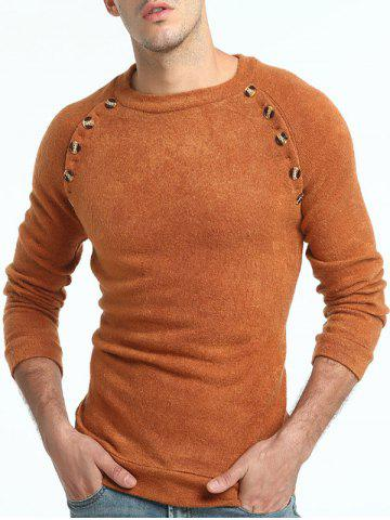 Store Raglan Sleeve Button Embellished Sweater - 2XL LIGHT BROWN Mobile