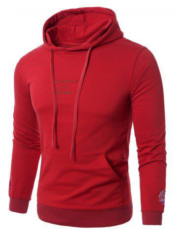 Trendy Graphic Embroidered Pocket Pullover Hoodie RED 5XL