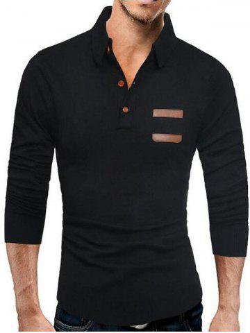 Fashion Half Button Long Sleeve Polo Sweater - 2XL BLACK Mobile