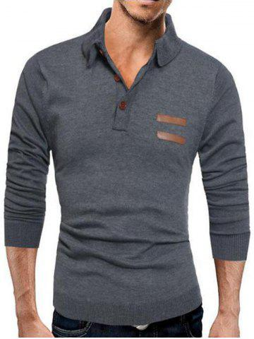 Fancy Half Button Long Sleeve Polo Sweater - L DEEP GRAY Mobile