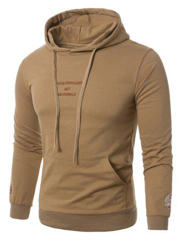 Trendy Graphic Embroidered Pocket Pullover Hoodie - M KHAKI Mobile