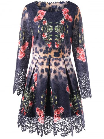 Store Lace Panel Floral Leopard Print Skater Dress - M FLORAL Mobile