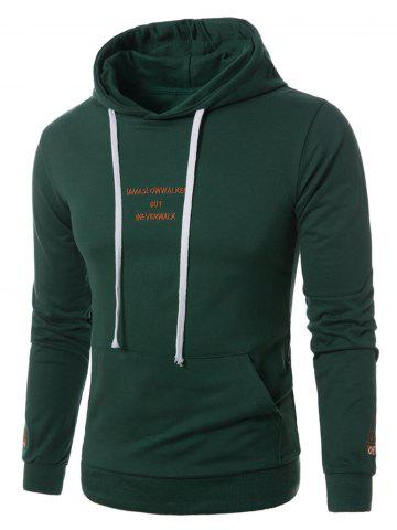 Hot Graphic Embroidered Pocket Pullover Hoodie GREEN M