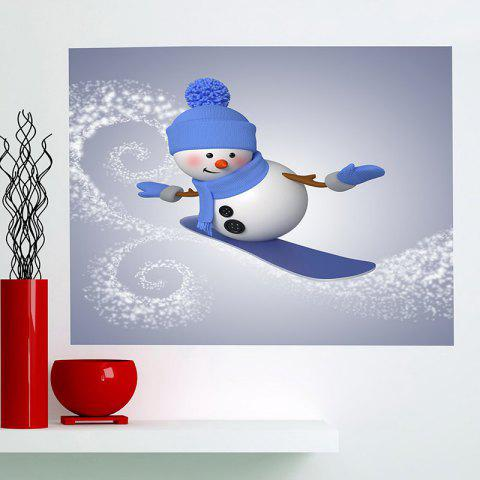 Chic Multifunction Christmas Skiing Snowman Pattern Wall Sticker - 1PC:24*24 INCH( NO FRAME ) BLUE + GREY Mobile