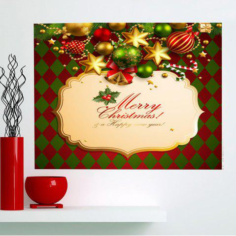 Outfit Merry Christmas Rhombus Pattern Multifunction Decorative Wall Sticker - 1PC:24*47 INCH( NO FRAME ) COLORFUL Mobile