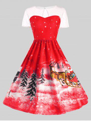 Fashion Father Christmas Sleigh Party Gown Dress RED M
