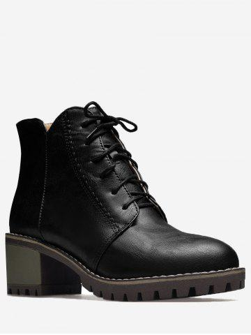 Cheap Stitching Chunky Heel Short Boots - 36 BLACK Mobile