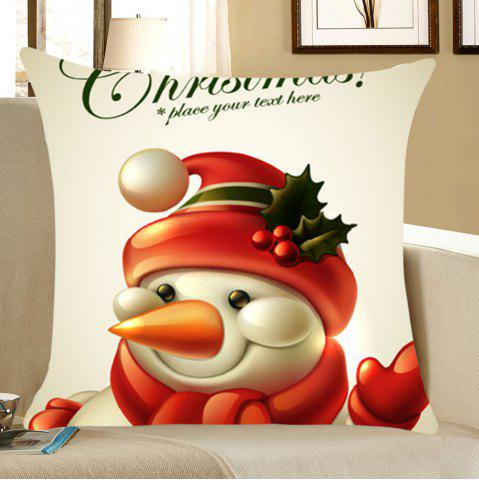 Outfit Christmas Happy Snowman Pattern Throw Pillow Case