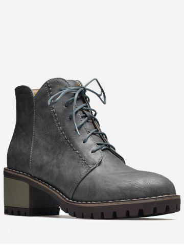 Affordable Stitching Chunky Heel Short Boots GRAY 39