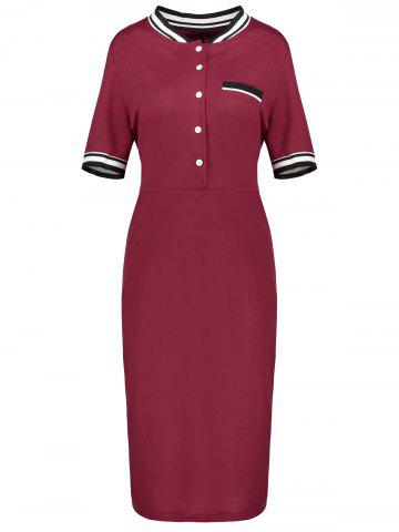 Fancy Plus Size Sheath Half Button Polo T-shirt Dress
