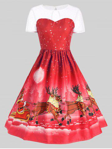 Online Mesh Panel Sleigh Santa Claus Christmas Party Dress RED L