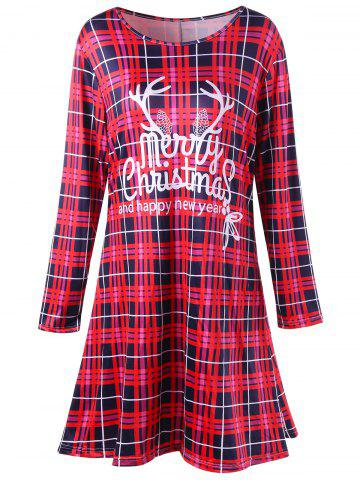 Best Christmas Plus Size Plaid Swing Mini Dress - 5XL RED Mobile