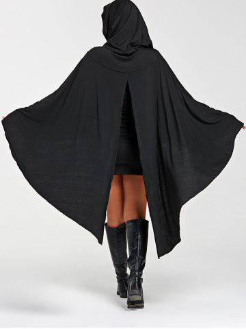 Hot Halloween Back Slit Hooded Cape Dress - L BLACK Mobile